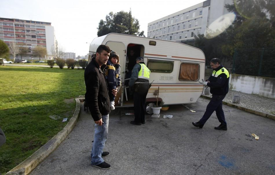 Police evict the Silva family from their trailer residence, on January 25