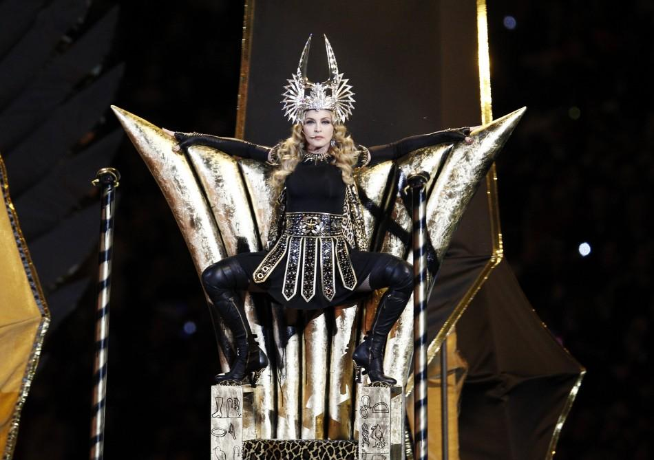 Madonna performs during the halftime show in the NFL Super Bowl XLVI football game in Indianapolis, Indiana