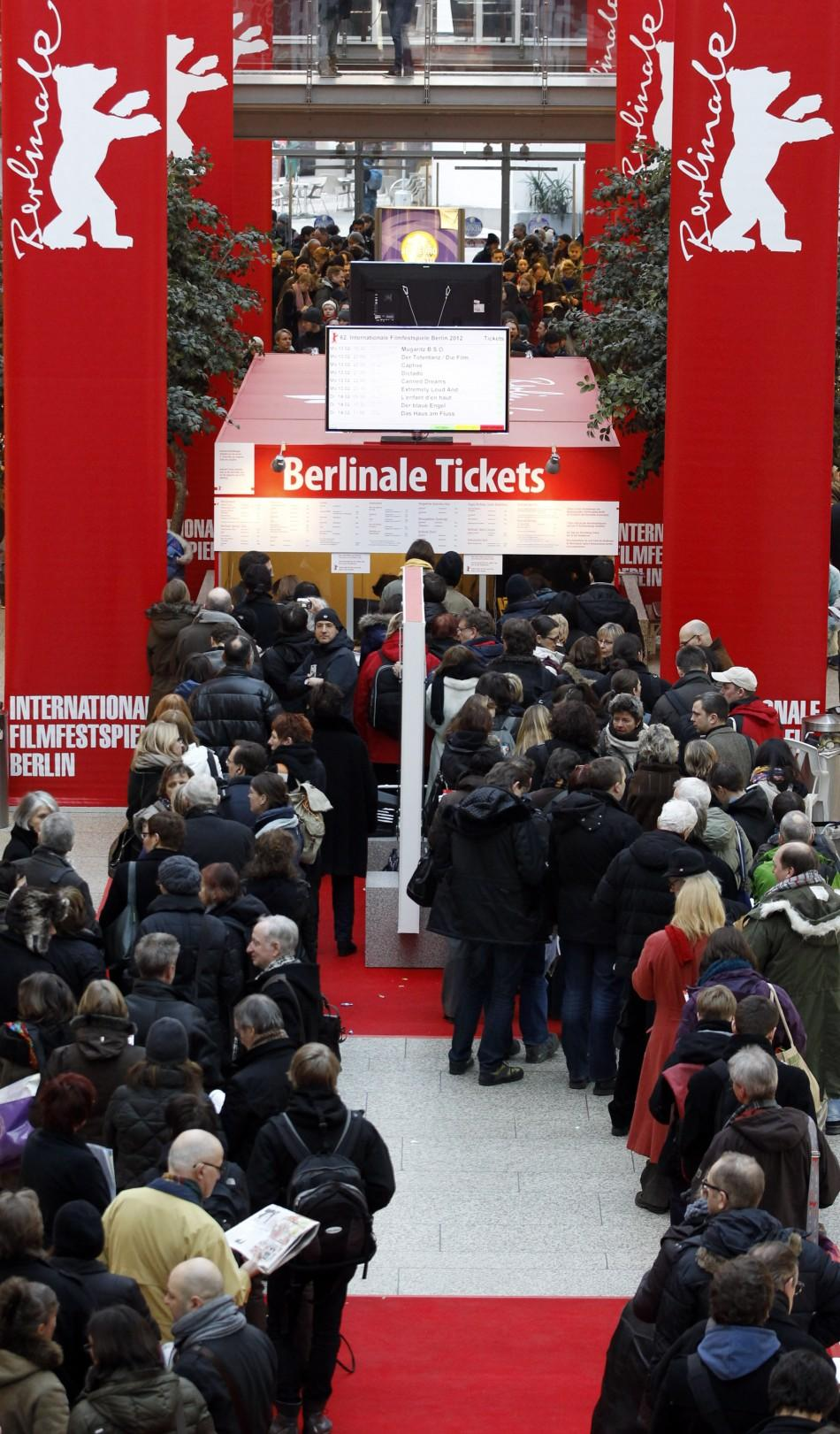 People line up to buy tickets for the upcoming 62nd Berlinale International Film Festival in Berlin February 6, 2012. The February 9-19 Berlinale kicks off the European festival season.