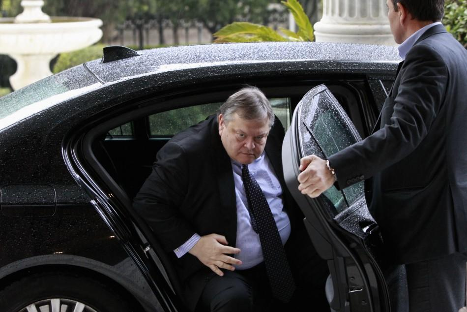 Greece's Finance Minister Evangelos Venizelos arrives at the Presidential palace on Wednesday. Greece's political leadership has not received the expected support from its European peers this week, as the latter have claimed party leaders