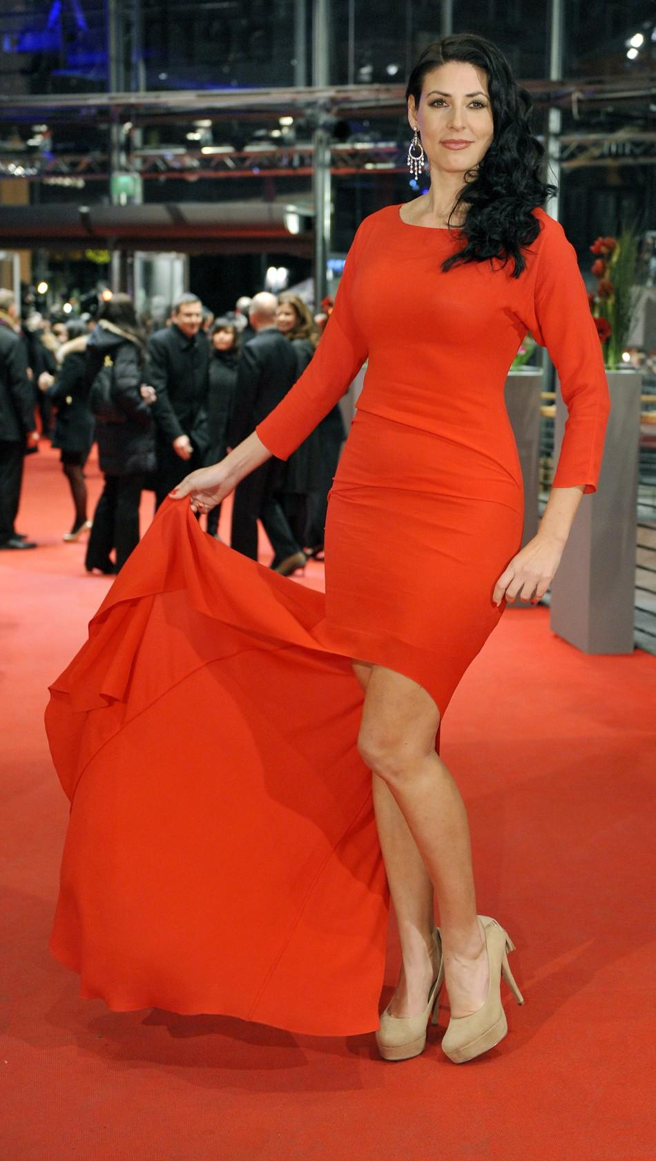 "Cast member Natascha Berg poses as she arrives for the screening of the movie ""Haywire"" at the 62nd Berlinale International Film Festival in Berlin February 15, 2012."