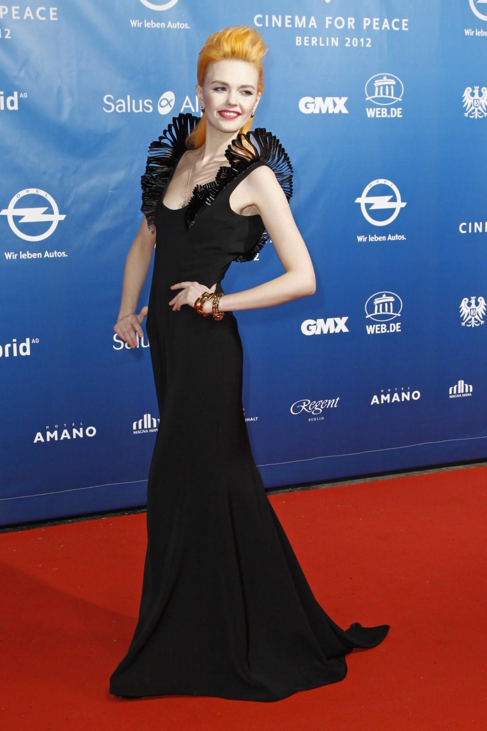 "German model Bonnie Strange arrives for the ""Cinema for Peace 2012"" charity gala during the 62nd Berlinale film festival in Berlin, February 13, 2012."