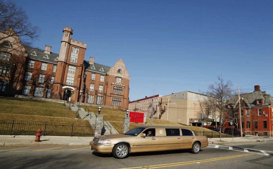 Hearse carry late singer Houston drives to New Hope Baptist Church for her funeral service in Newark