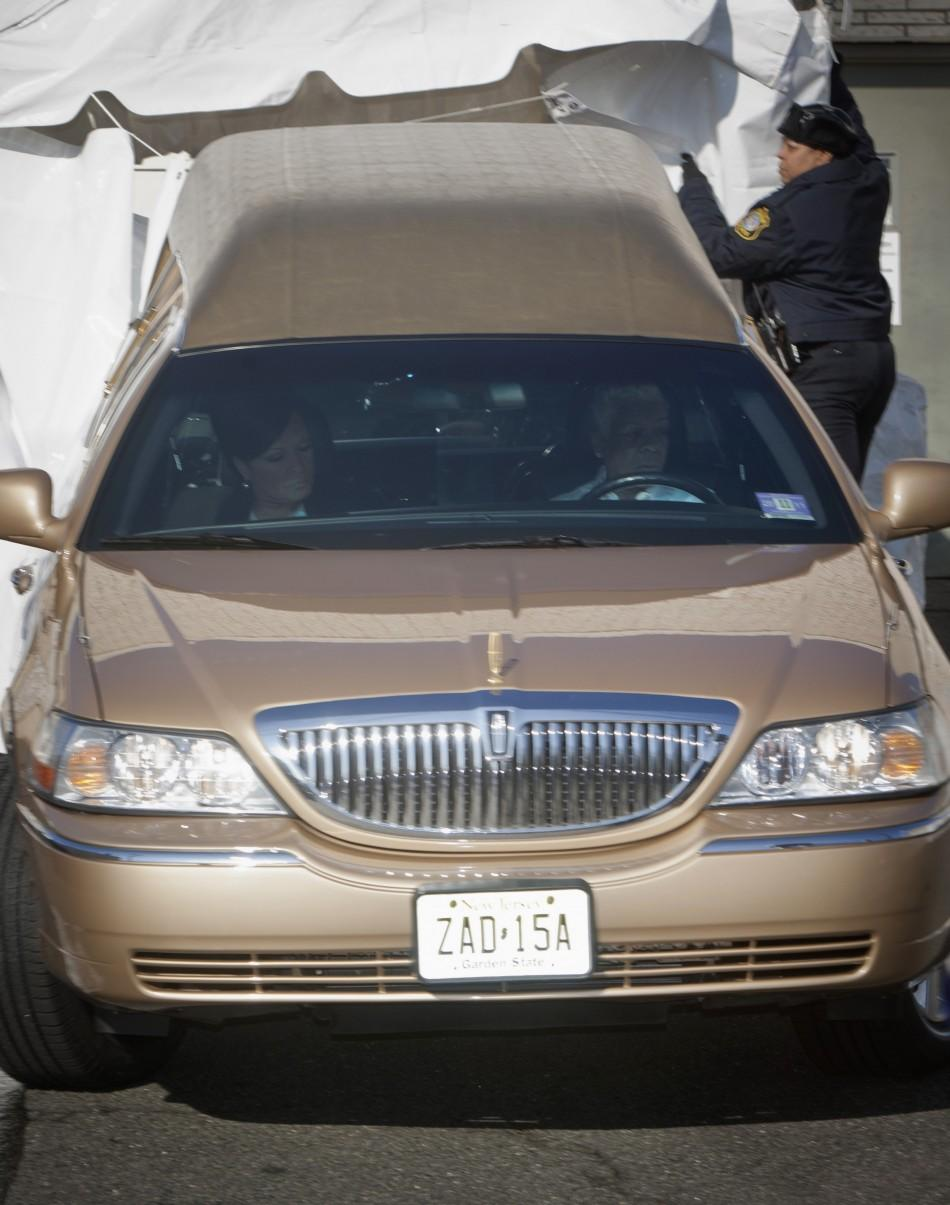 Hearse carrying body of singer Houston leaves a funeral home en-route to church for funeral services in Newark