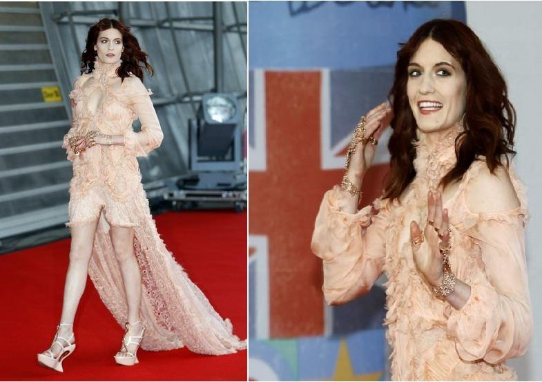 Florence Welch of the band Florence & The Machine arrives for the BRIT Music Awards at the O2 Arena in London February 21, 2012.