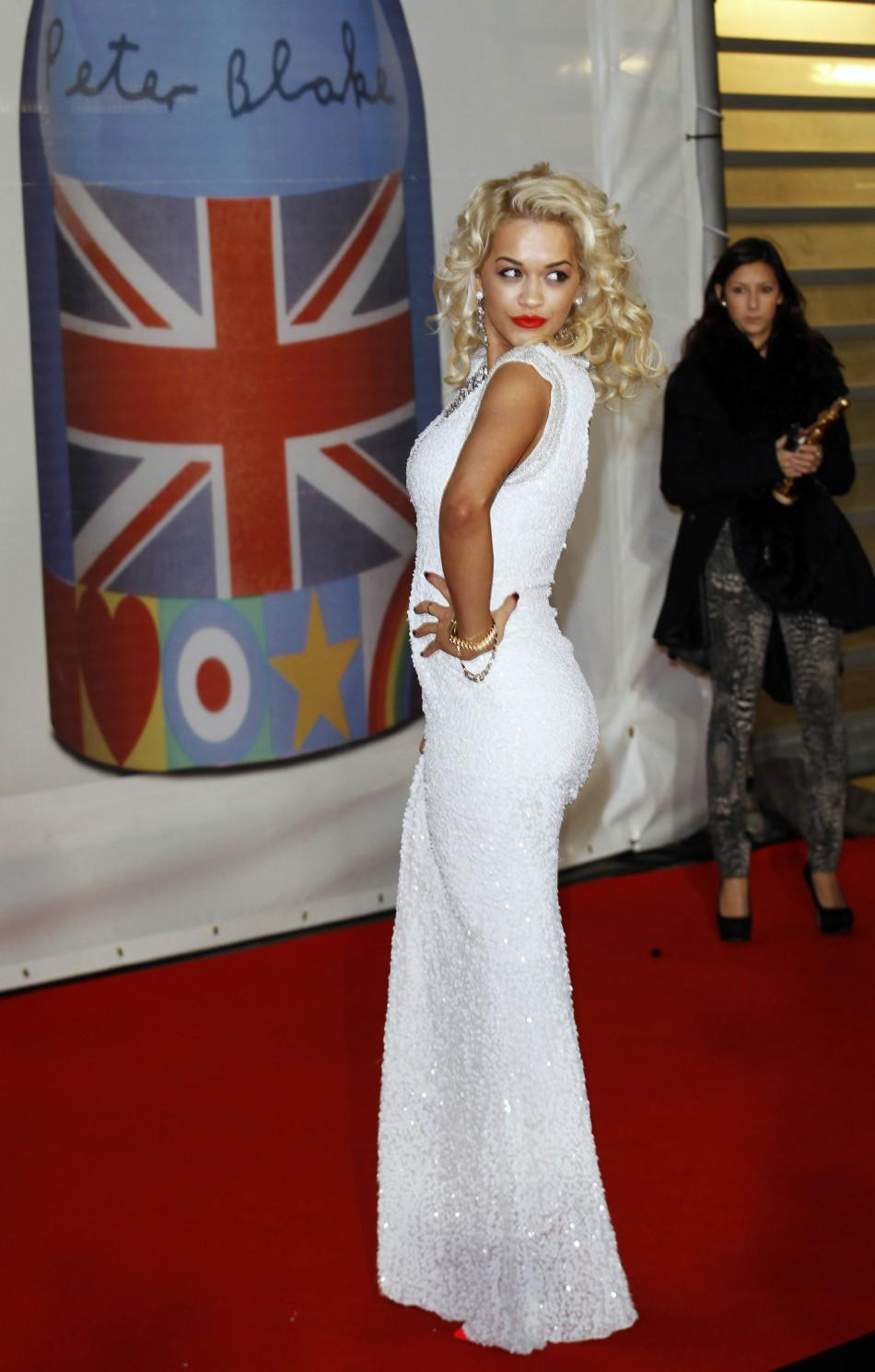 Rita Ora arrives for the BRIT Music Awards at the O2 Arena in London February 21, 2012.