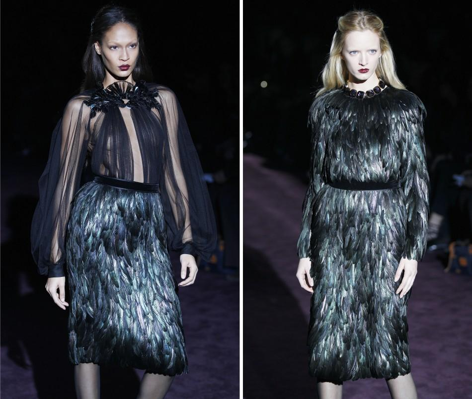 Models present creations from Gucci's 2012 Autumn/Winter collection during Milan Fashion Week in Milan February 22, 2012.