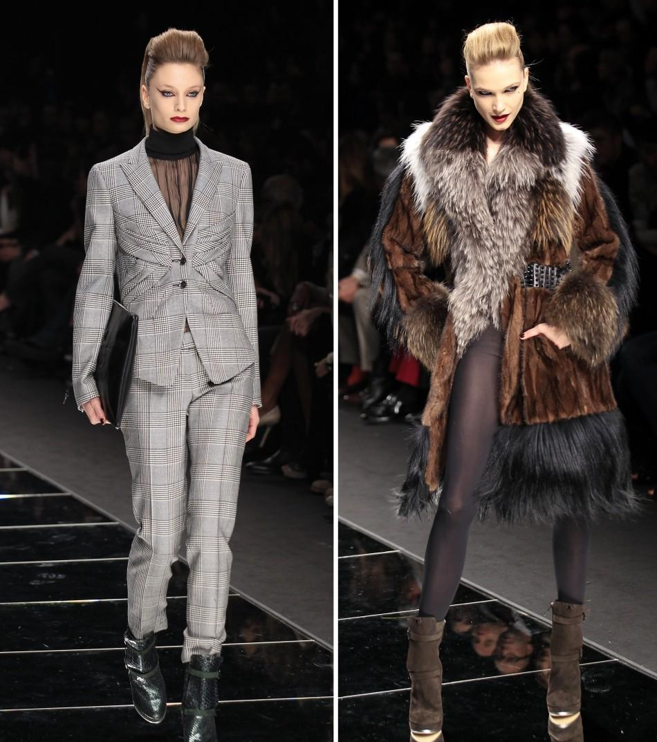 Models present creations from the John Richmond 2012 Autumn/Winter collection during Milan Fashion Week February 22, 2012.