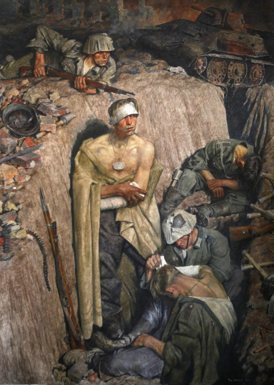 """Reminiscence on Stalingrad"" by German painter Eichhorst, a part of Adolf Hitler's private art collection, at the Doksany Monastery near Prague"