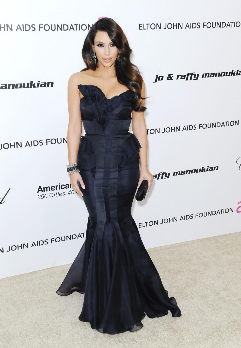 Television personality Kardashian arrives at the 19th Annual Elton John AIDS Foundation Academy Award Viewing Party in West Hollywood