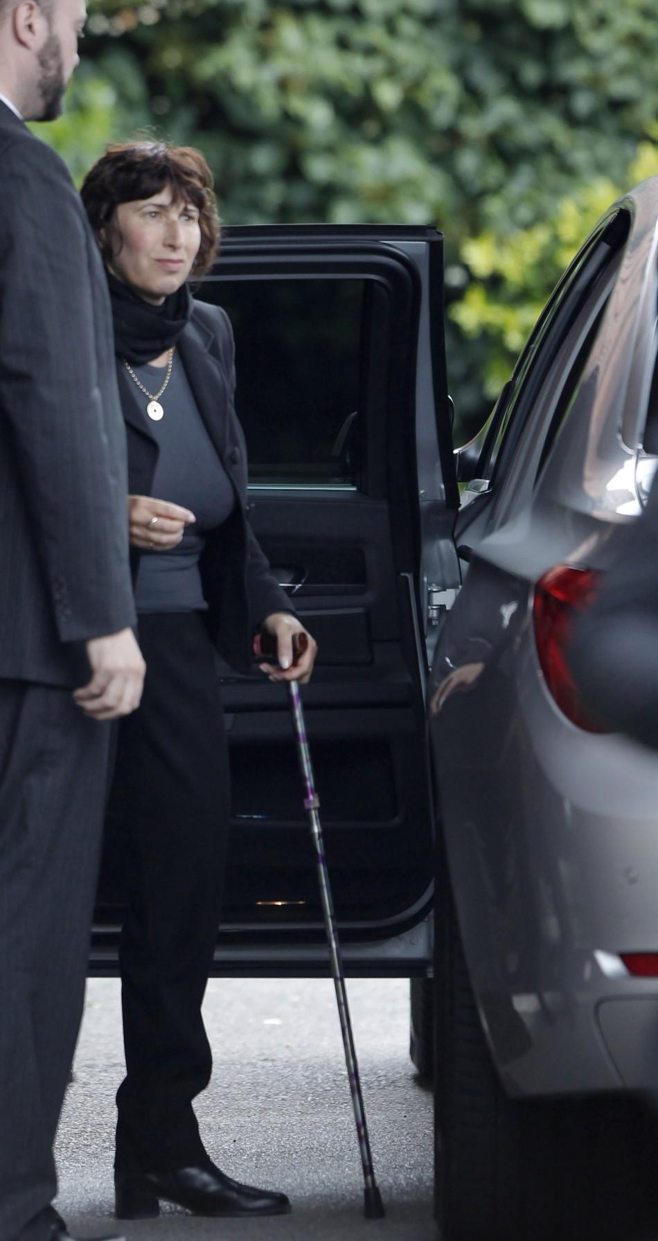 Janis, mother of deceased singer Amy Winehouse arrives at Golders Green Crematorium in London