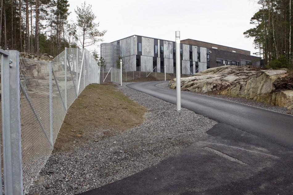 A road leading to Halden prison in the far southeast of Norway
