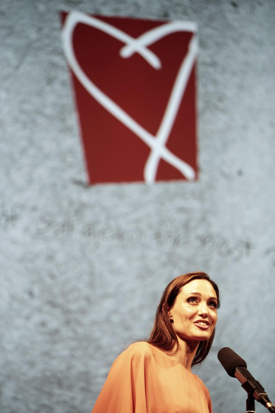 Angelina Jolie speaks on the final night of the 17th Sarajevo Film Festival