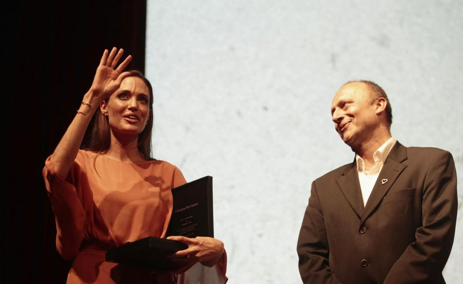 Angelina Jolie receives the Heart of Sarajevo honorary award on the final night of the 17th Sarajevo Film Festival