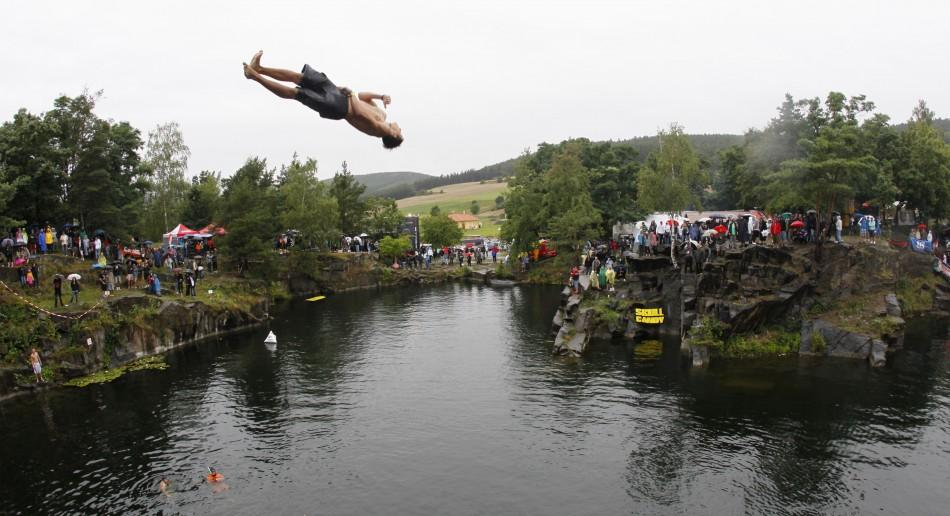 Divers Give a Daring Shot at Cliff-Diving Competition in Czech Republic