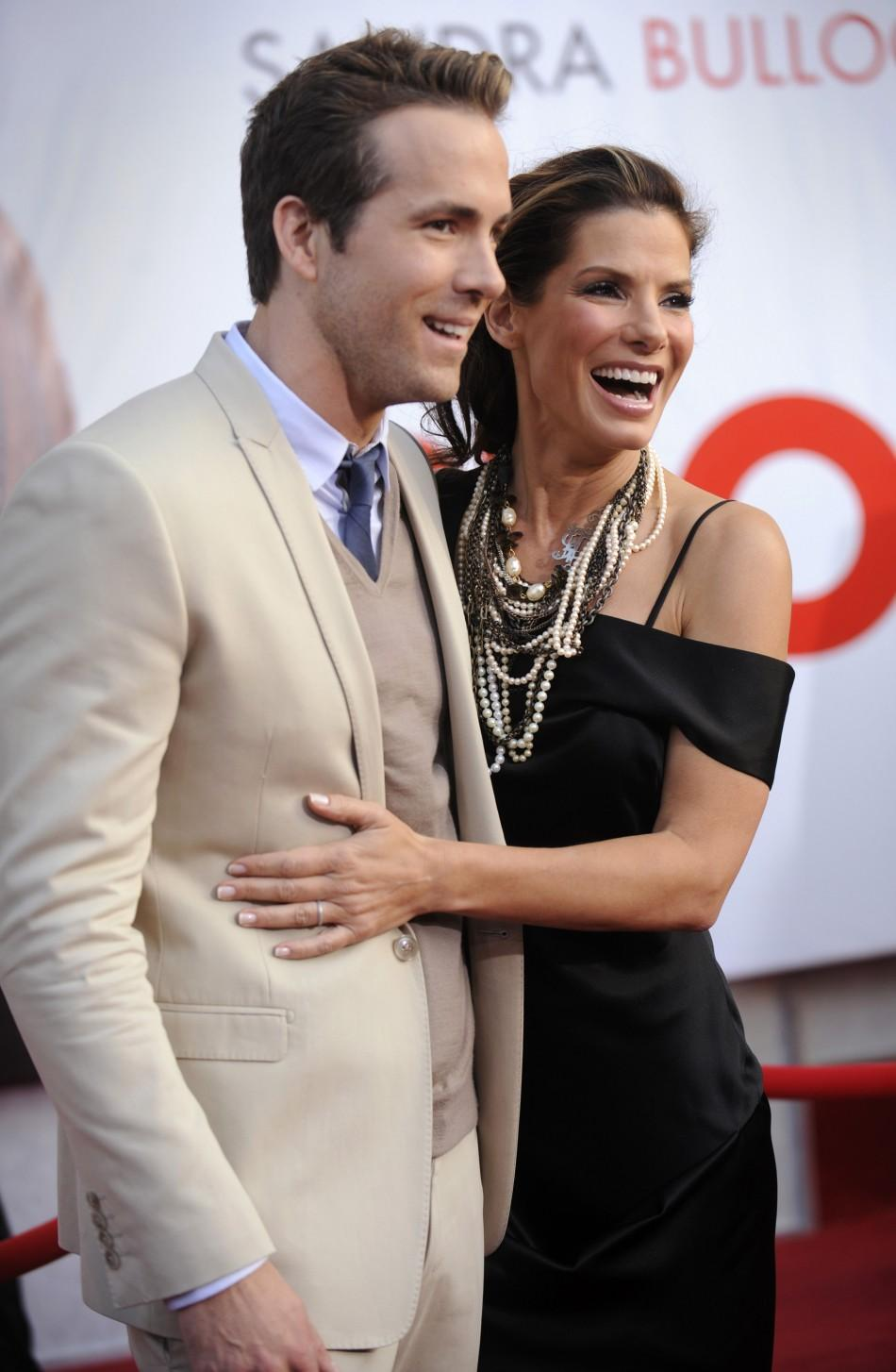 "Cast members Ryan Reynolds and Sandra Bullock attend the premiere of the film ""The Proposal"" in Los Angeles"