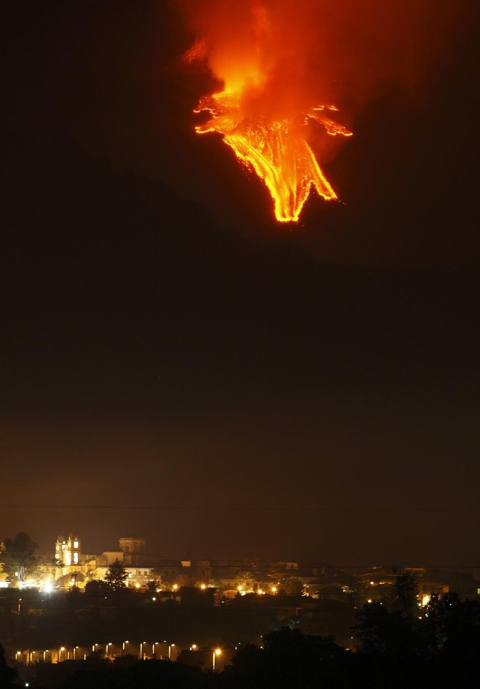 Mount Etna spews lava