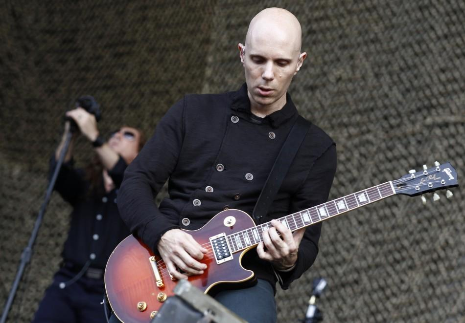"""Howerdel and Keenan of the band """"A Perfect Circle"""" perform at the Lollapalooza music festival in Grant Park in Chicago"""