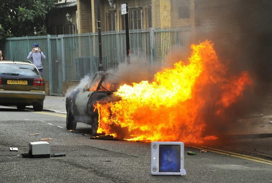 Burning car in London