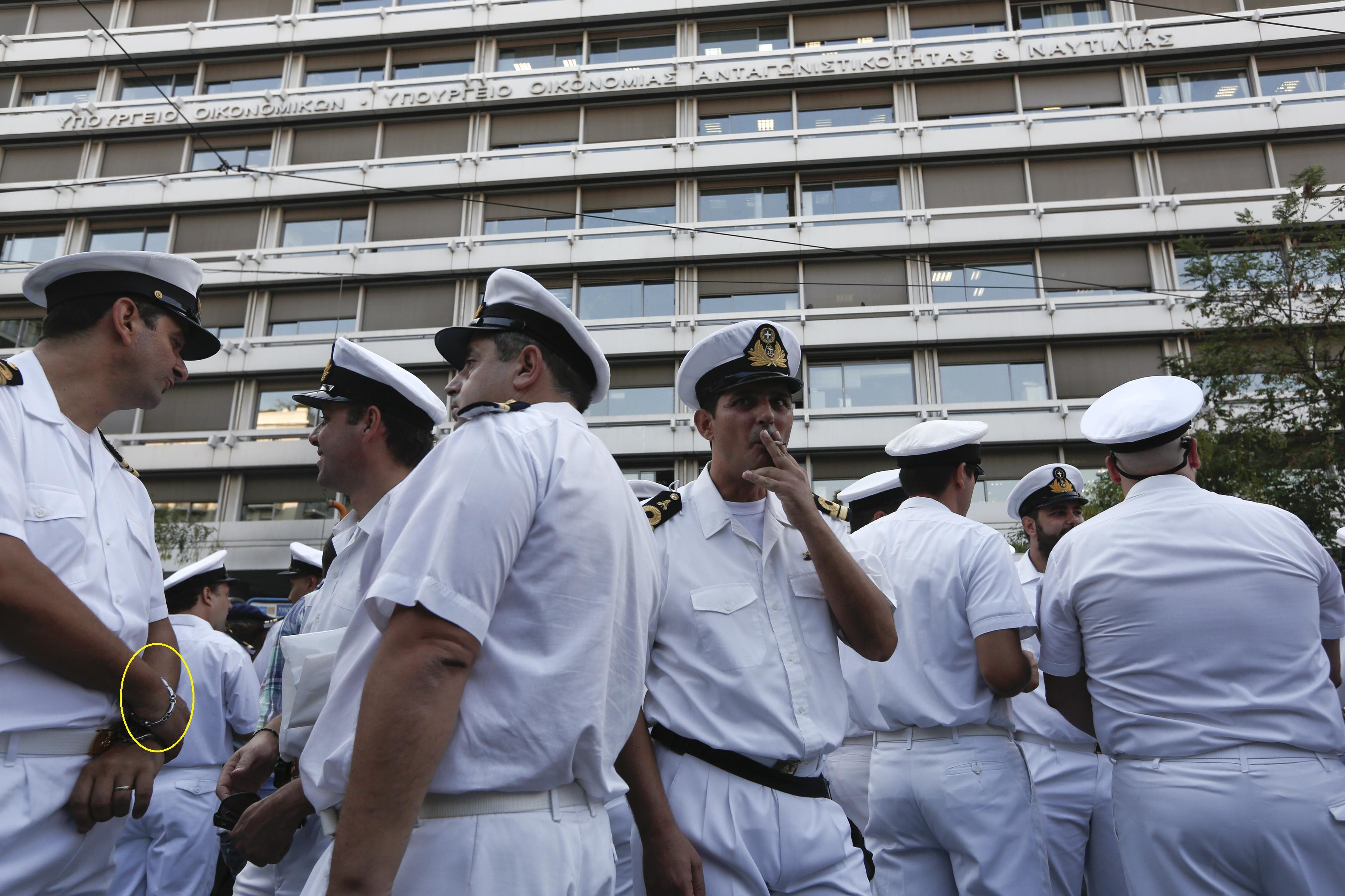 Greek Navy officers during an anti-austerity rally on September 12.