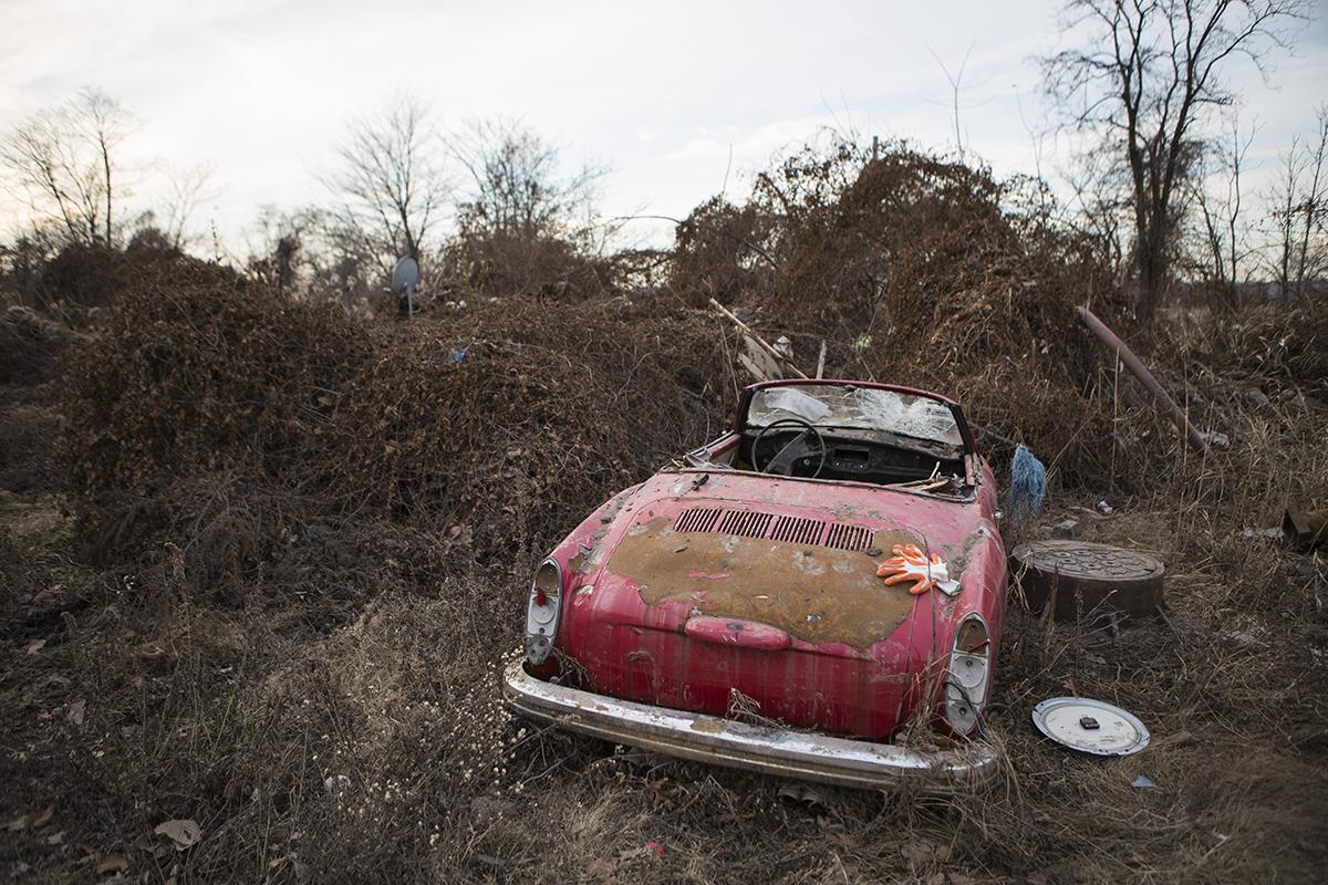 Sandy Wrecked Car