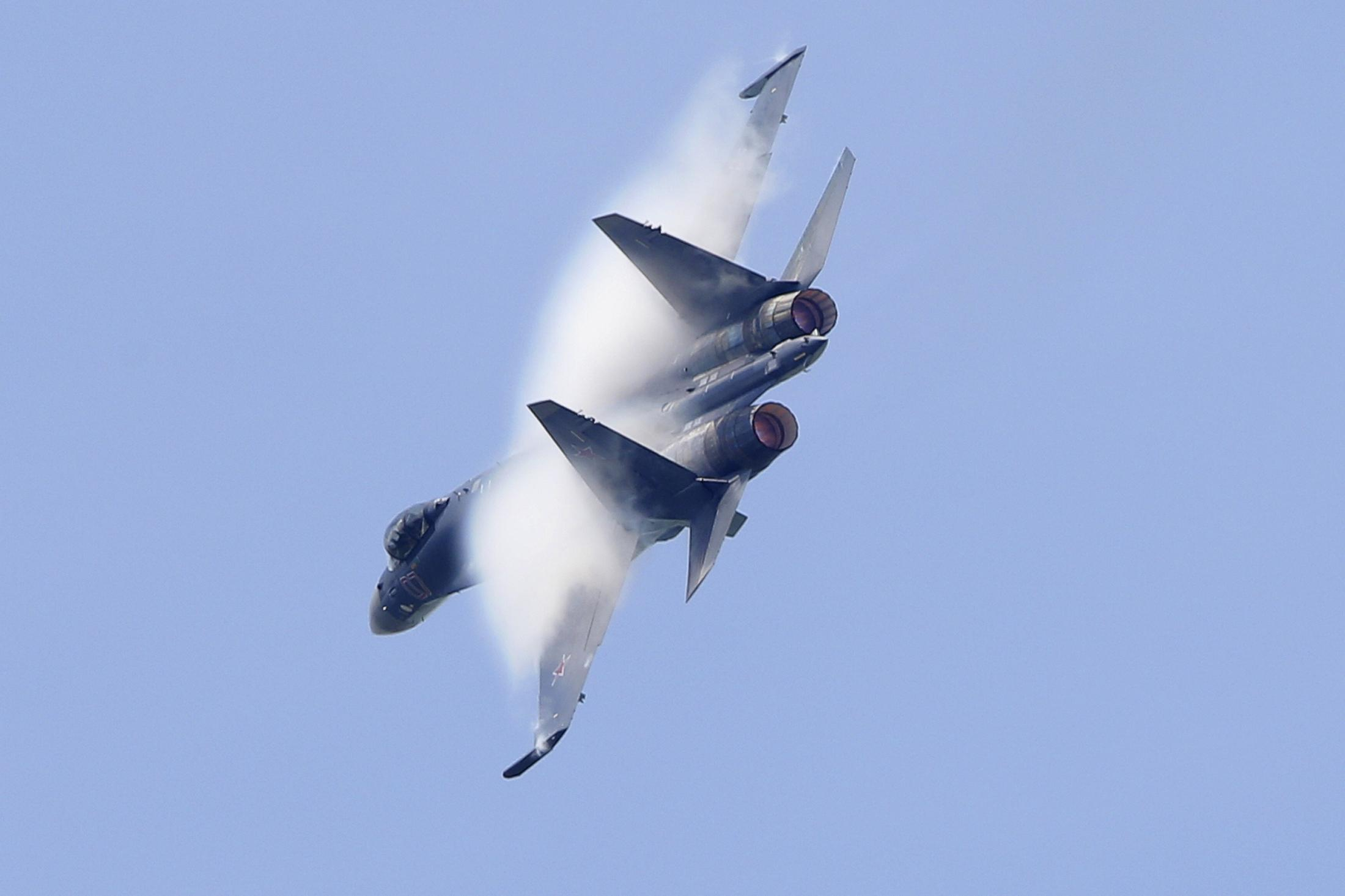 The Sukhoi Su-35 Flanker-E maneuvers during the Paris air show.