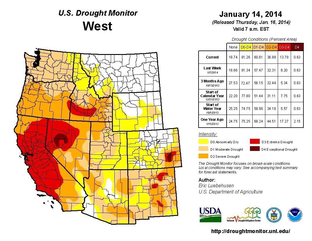 Droughts In Western US Persist While East Remains In Good Shape