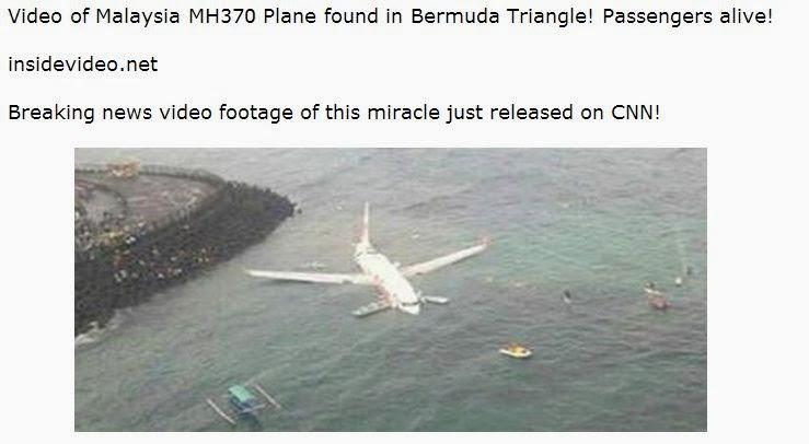 Malaysia Airlines missing plane Facebook scam