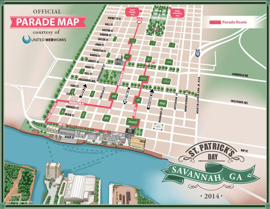Savannah St. Patrick's Day Parade 2014 Route Map