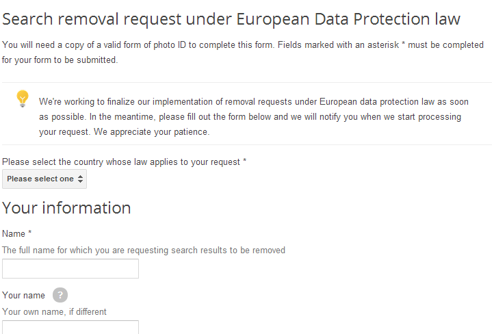 Google Search Removal Request Form 1