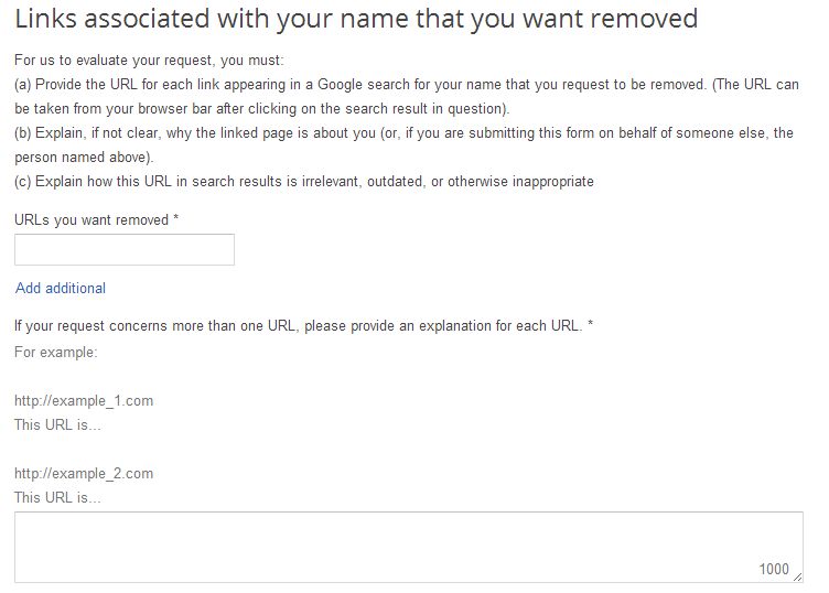 Google Search Removal Request Form 2