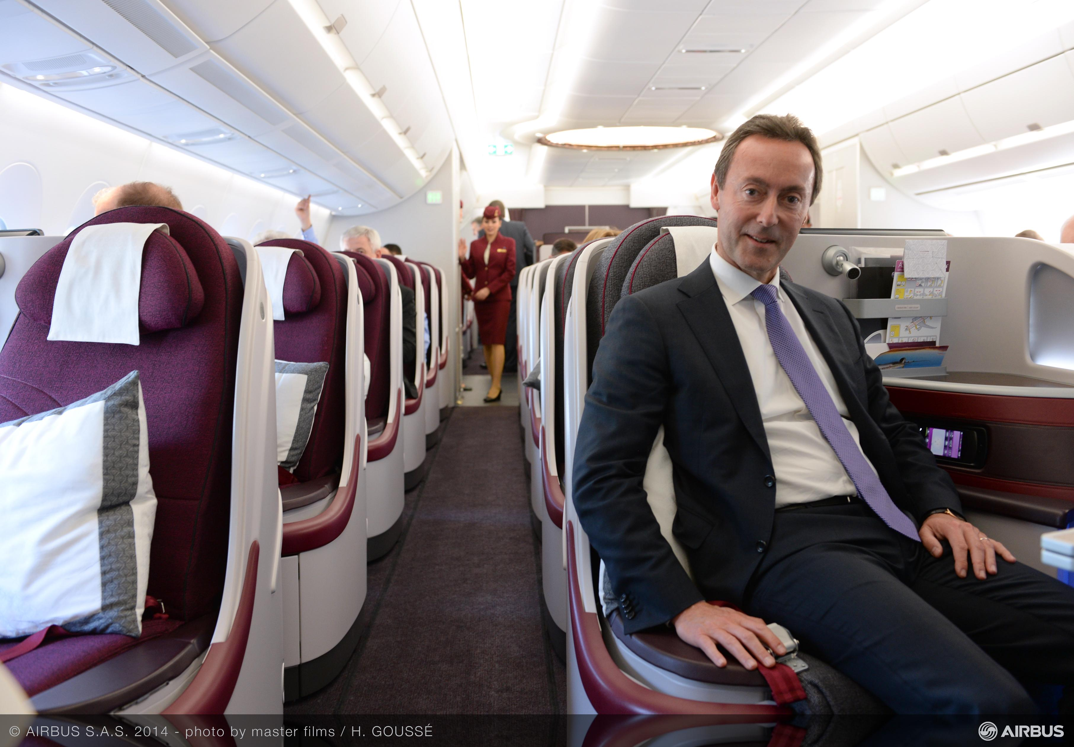 A350 XWB Qatar Airways cabin Mr Bregier