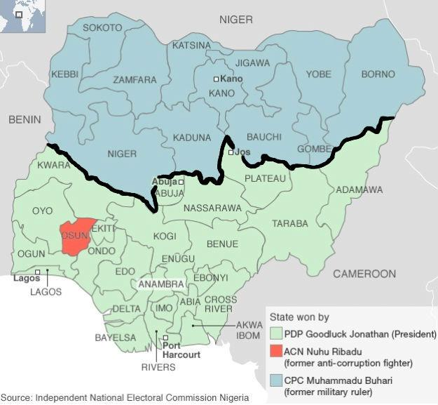 Nigeria's 2011 presidential election map