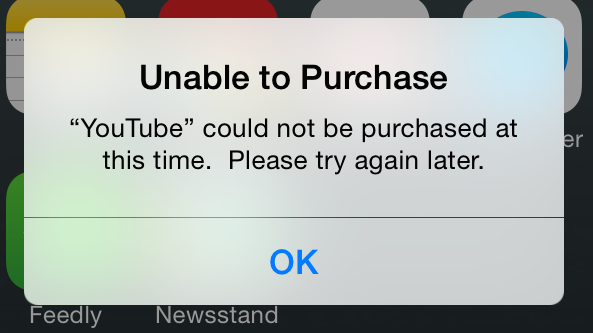 App Store Cannot Purchase