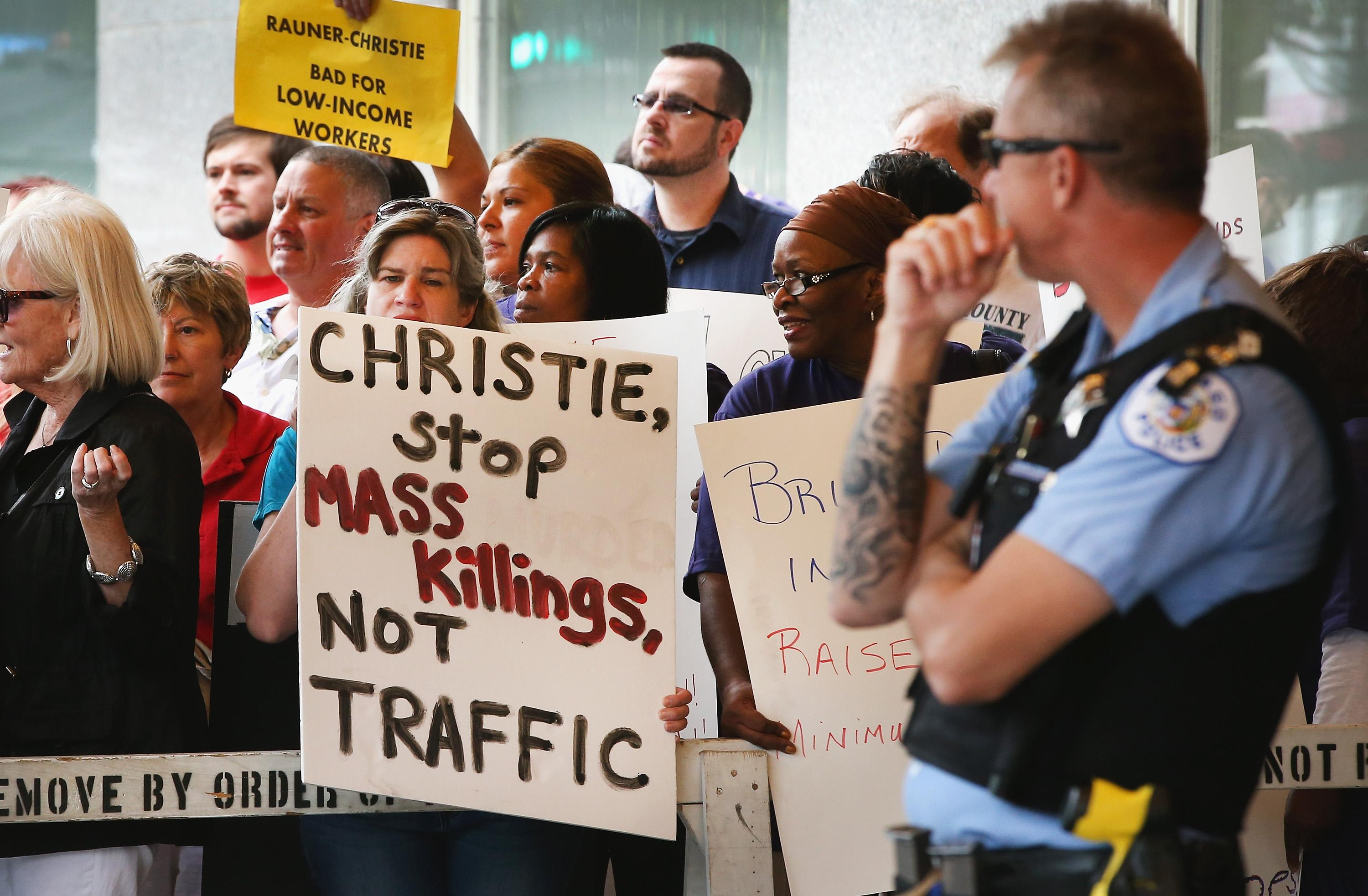 Chicago Demonstration, Chris Christie, July 25, 2014