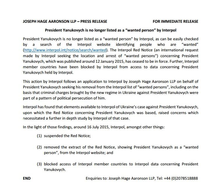 Yanukovych press release