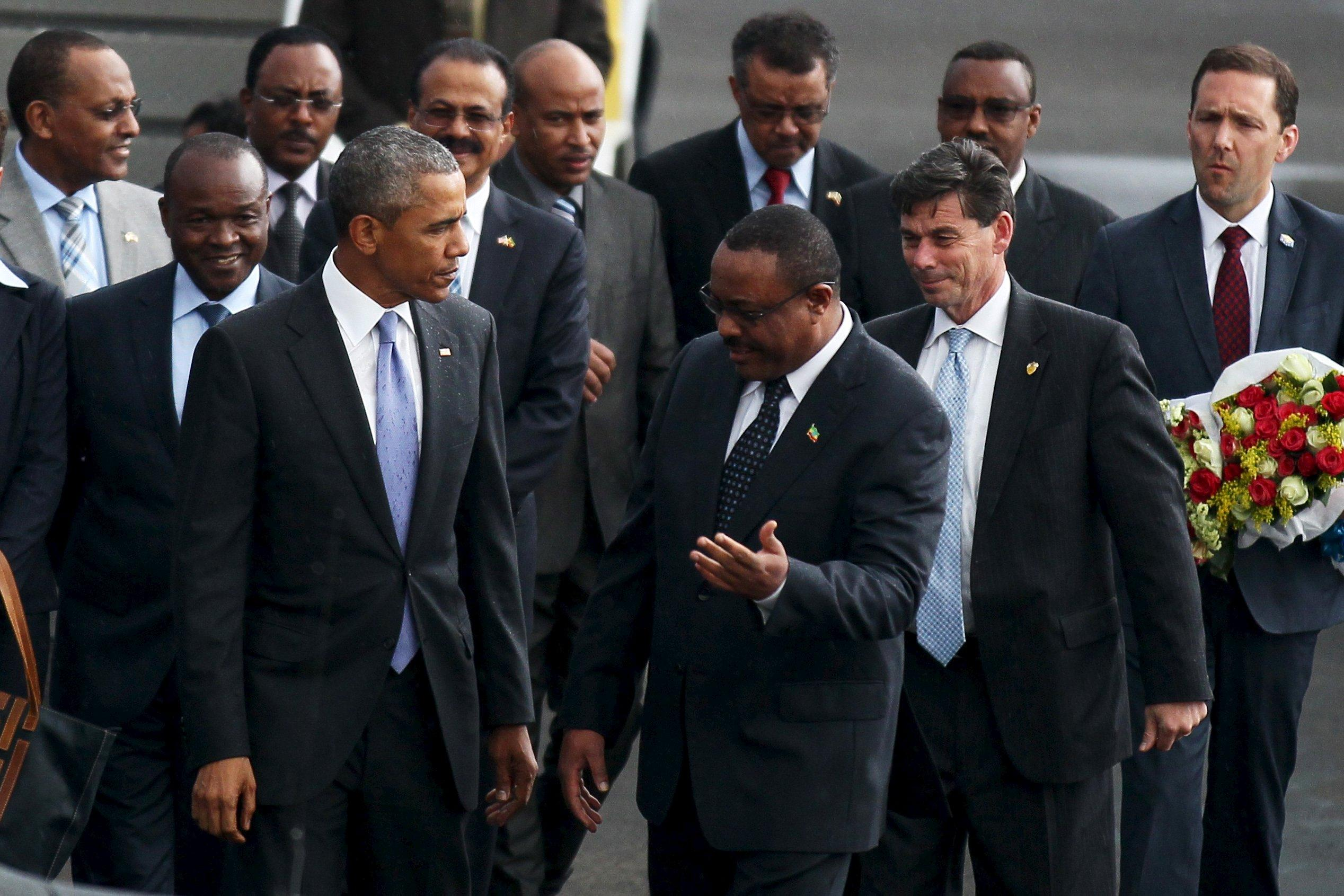 obama arrives in ethiopia