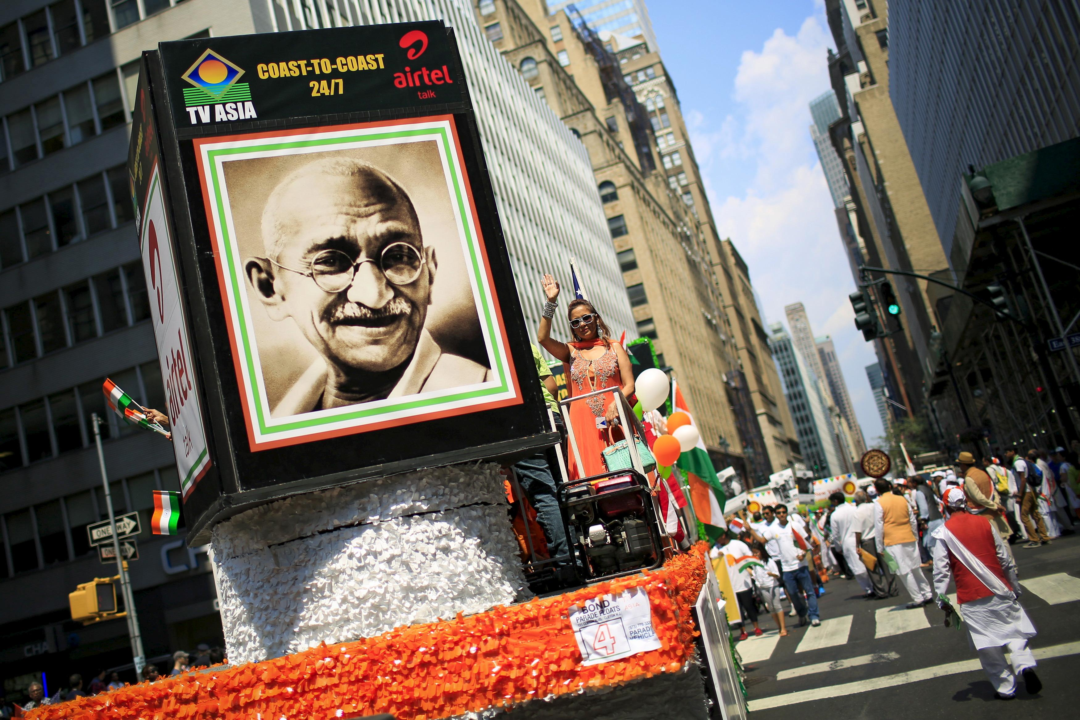 A picture of Gandhi at a India Day Parade Event in New York