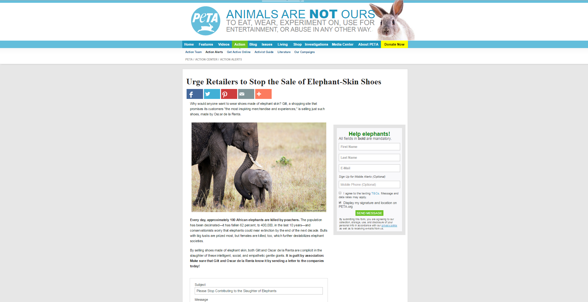 PETA petition cached