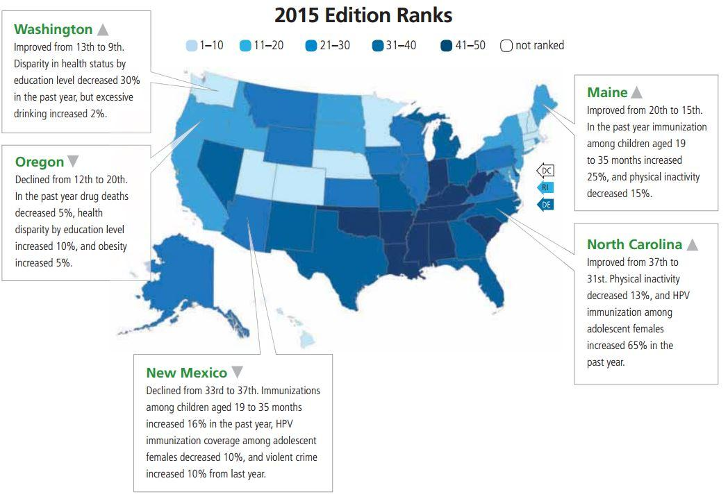 US Health Rankings Data Show Costs Of Preventable Diseases - Map of health education in us