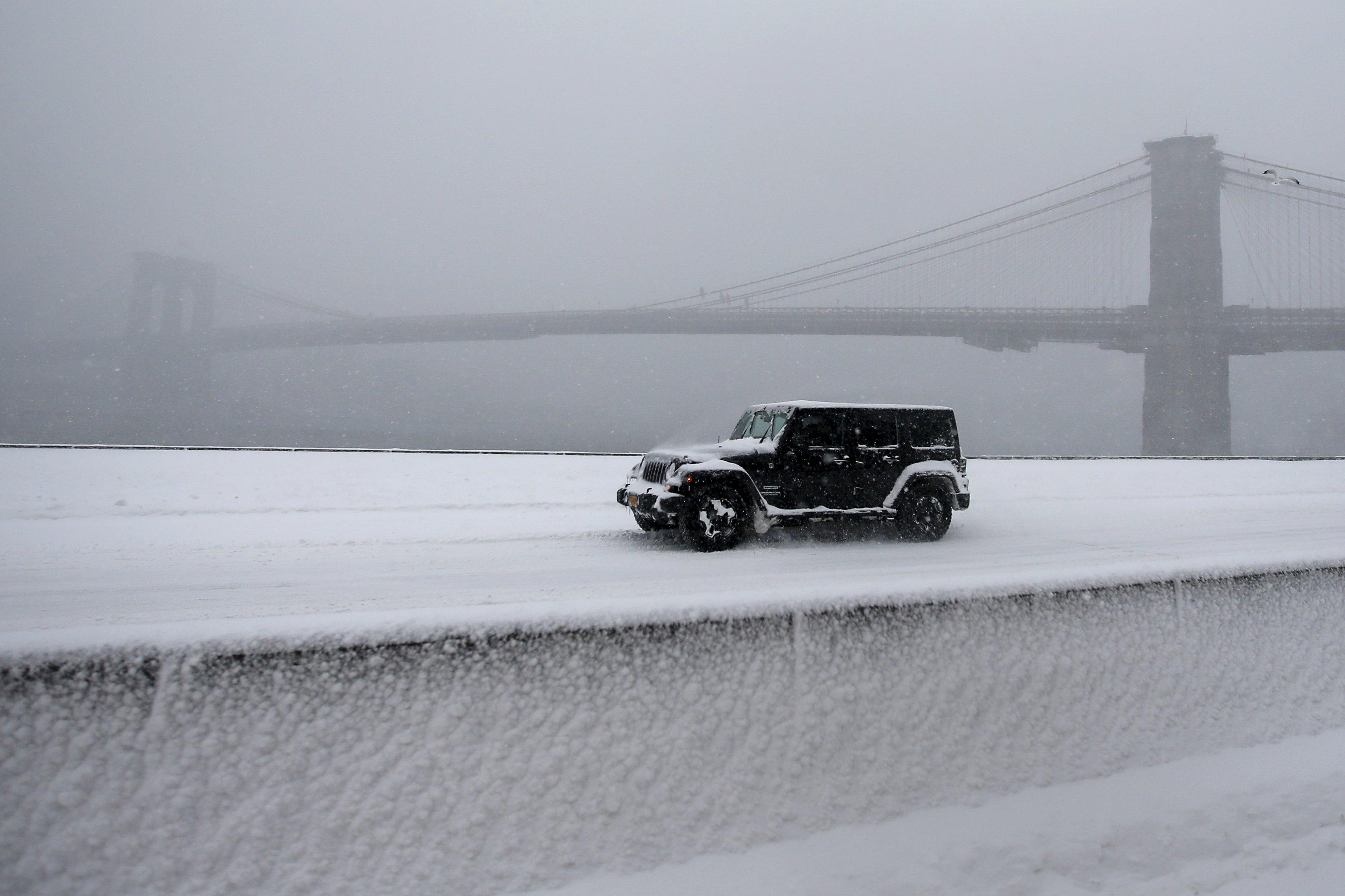 Jeep On Snowy FDR Drive In NYC, Jan. 23, 2016