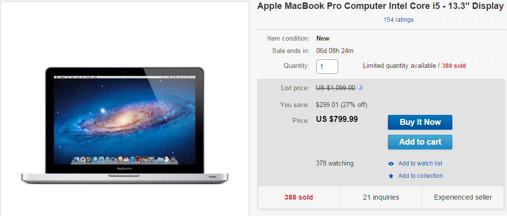 Apple macbook pro price slashed by 300 on ebay for Apple book 300