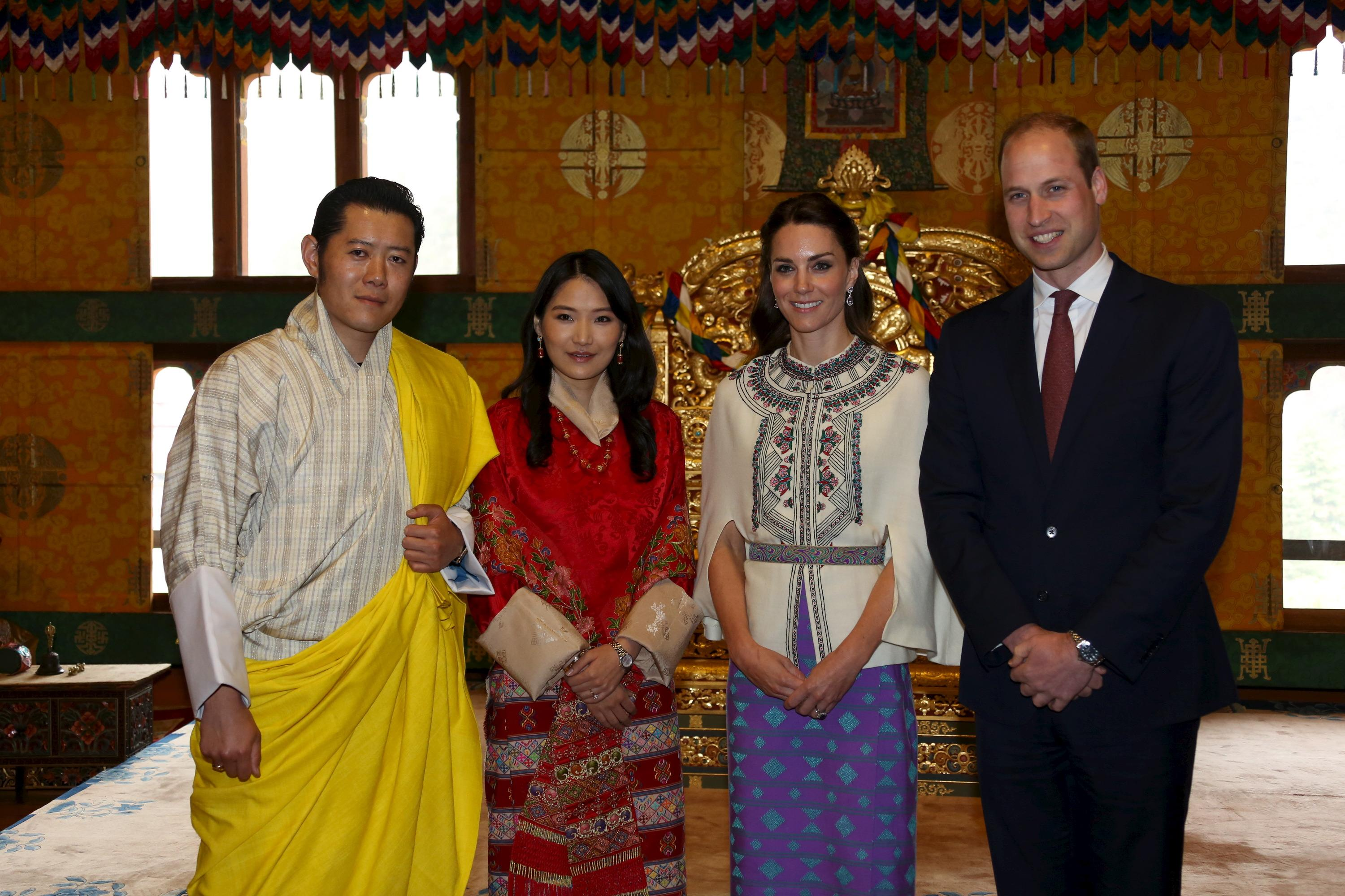 Bhutan's King Jigme and wife Queen Jetsun with Prince William and Kate Middleton