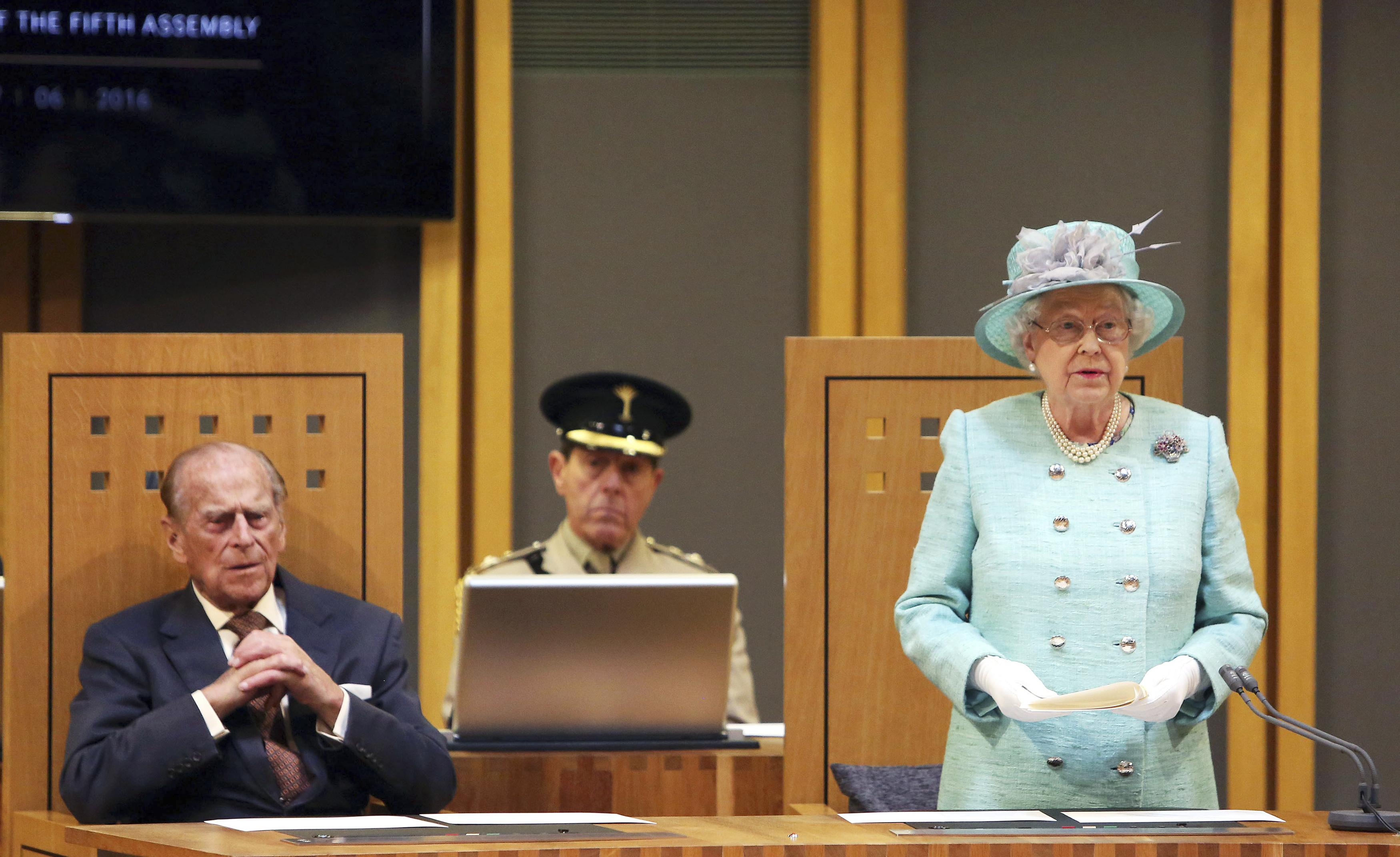 Queen Elizabeth and Prince Philip at the opening session of the National Assembly at the Senedd