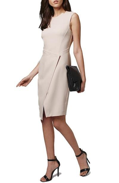 Structured Wrap Front Sheath Dress