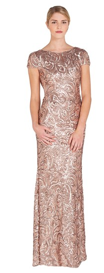 Sequin Cowl Back Evening Gown