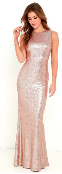 Sleeveless Sequin Drape Back Gown