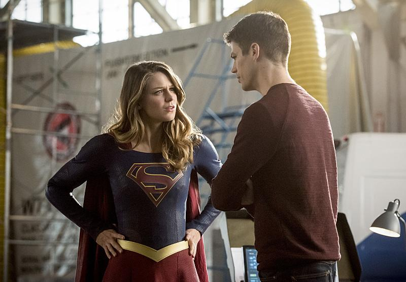 Melissa Benoist as Supergirl, Grant Gustin as The Flash