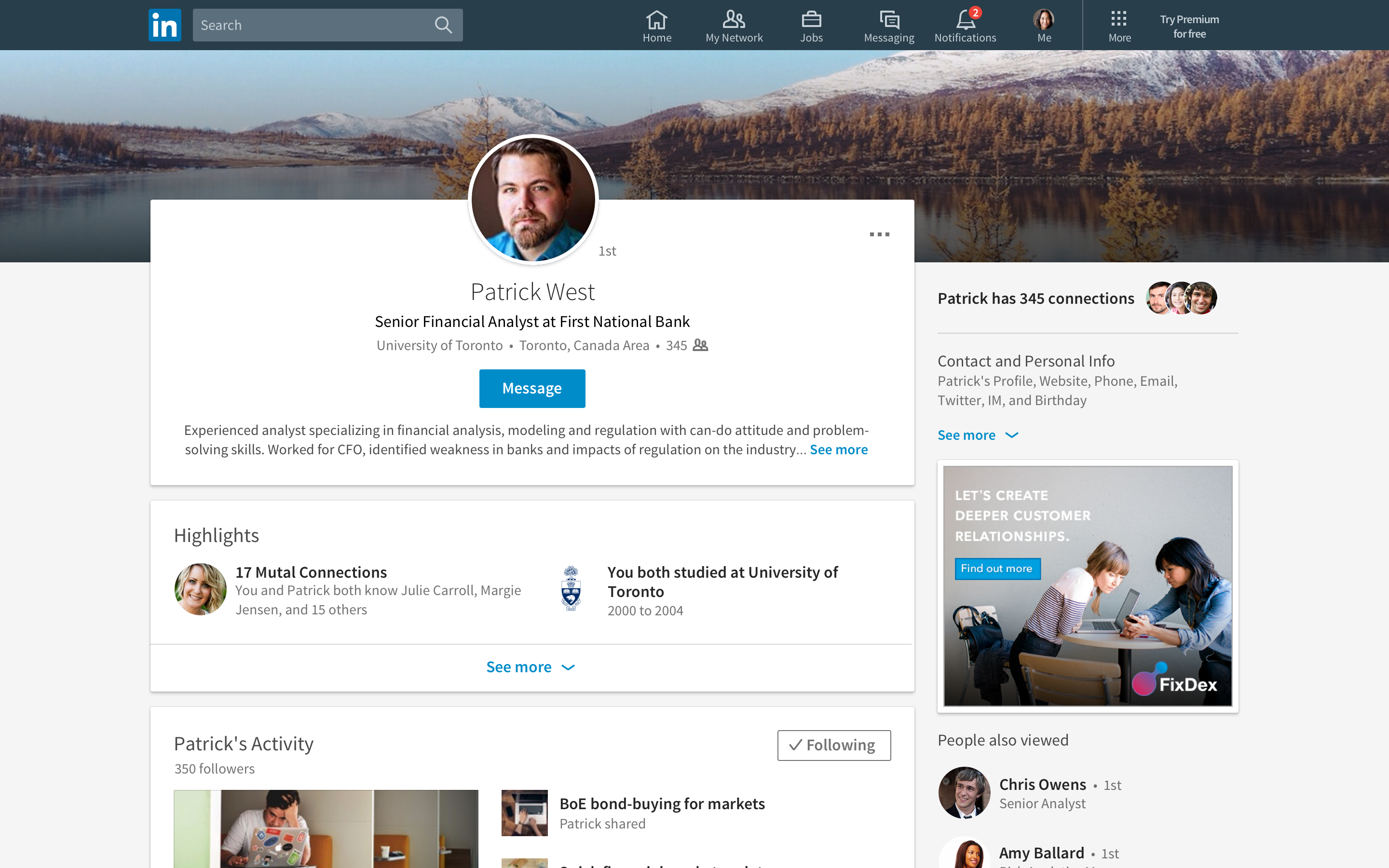 LinkedIn new design.