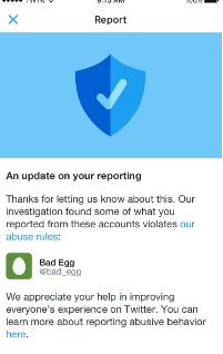reporting abuse on twitter